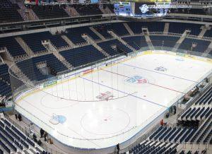 Pista de patinaje sobre hielo para hockey