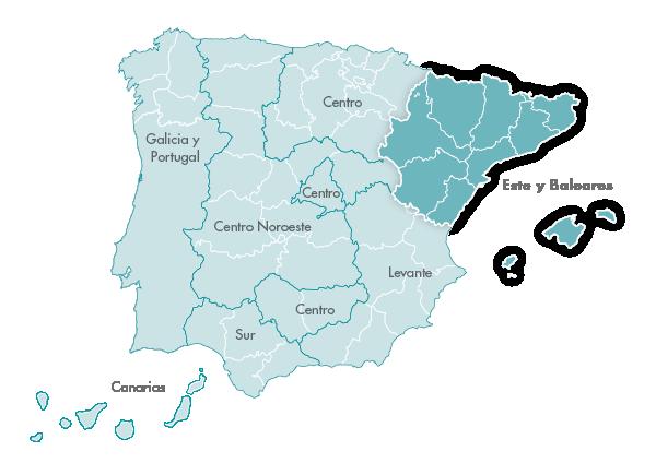 Mapa Zanotti appliance transporte Este y Baleares