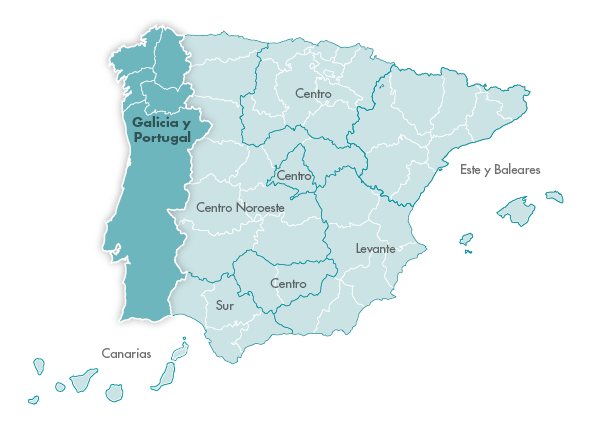 Mapa Zanotti appliance transporte Galicia y Portugal