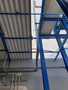 Estructura de hierro para instalación frigorífica para amoniaco