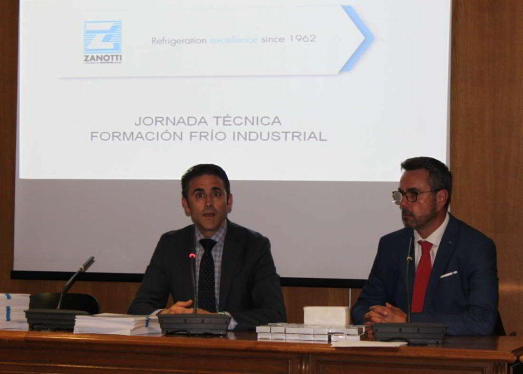 Decano Colegio de Ingenieros Técnicos Industriales de Madrid junto con Vicente Barrachina del departamento Técnico Comercial de Zanotti Appliance