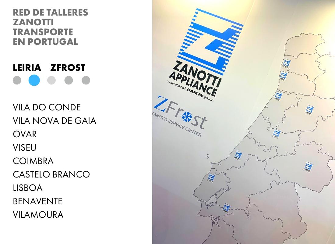 Red de talleres oficiales de Zanotti Transporte en Portugal