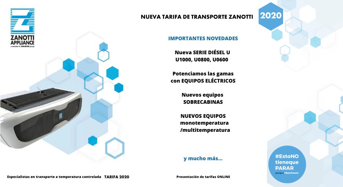 Nueva tarifa de Transporte de Zanotti 2020